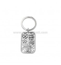 RECTANGULAR KEYRING WITH STEEL GEARS