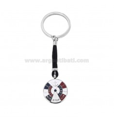 ROUND KEYCHAIN ??WITH STILL AND STEEL ENGINE PICTURE ROPE AND ENAMEL