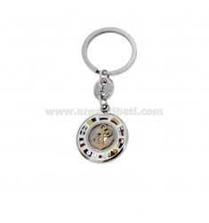 KEY RING ROUND WITH STILL AND NAUTICAL FLAGS ENAMELLED STEEL TWO-TONE