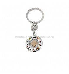 KEY RING ROUND WITH ROSE OF THE WINDS AND NAUTICAL FLAGS ENAMELLED STEEL TWO-TONE
