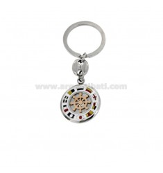 ROUND KEY WITH RUDDER AND NAUTICAL FLAGS ENAMELLED STEEL TWO-TONE
