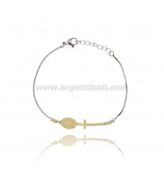 BRACELET CODE OF MOUSE WITH CROSS AND CENTRAL MADONNA IN STEEL TWO TONE CM 17-20