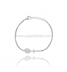 VENETIAN BRACELET WITH CROSS AND CENTRAL MADONNA IN STEEL 17-20 CM