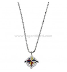 PENDANT ROSE OF THE WINDS IN STEEL AND ENAMEL WITH VENETIAN CHAIN ??50 CM