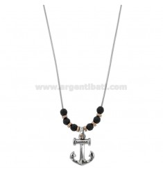 NECKLACE NECKLACE WITH ANCHOR PENDANT AND HEMATITE BALLS IN TWO-TONE STEEL CM 50
