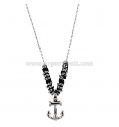 NECKLACE CABLE WITH STILL PENDANT AND WASHER IN TWO-TONE STEEL CM 50