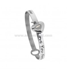 RIGID BRACELET IN CIRCLE LOVE YOU FOREVER WITH HEART PENDANT IN STEEL