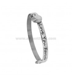 RIGID BRACELET IN CIRCLE LOVE YOU FOREVER WITH ROUND STEEL PENDANT