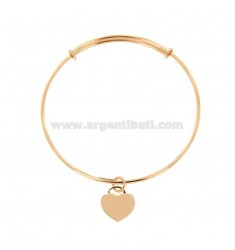 RIGID 2 MM RING BRACELET WITH HEART PENDANT IN COPPER SILVER TIT 925 ‰