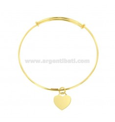 RIGID 2 MM RING BRACELET WITH HEART PENDANT SILVER GOLDEN TIT 925 ‰