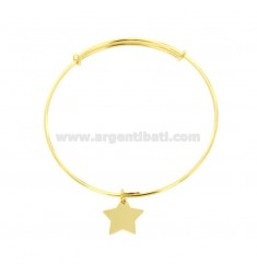 RIGID 2 MM RING BRACELET WITH STAR PENDANT IN SILVER DORATOTIT 925 ‰
