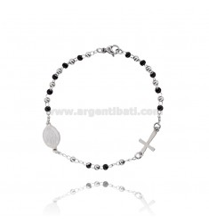 ROSARY BRACELET WITH SMOOTH BALL OF 3 MM 19 CM IN STEEL TWO-TONE