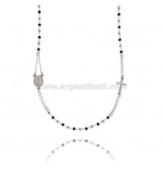 ROSARY NECKLACE WITH SMOOTH BALL FROM 3 MM TO 50 CM IN STEEL TWO-TONE