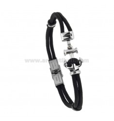 BLACK ROPE BRACELET WITH STILL AND STEEL BOAT 21 CM