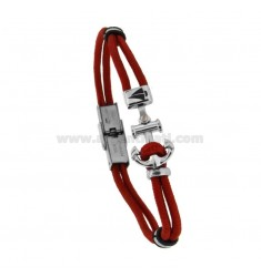 RED ROPE BRACELET WITH ANCHOR AND STEEL BOAT 21 CM