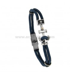 BRACELET IN BLUE ROPE WITH STILL AND ROSE OF THE WINDS IN STEEL CM 21