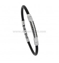 BRACELET IN BLACK CAUCCIU 'MM 5 WITH TWO-TONE STEEL PLATE