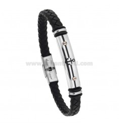 BLACK WOVEN LEATHER BRACELET WITH CENTRAL PLATE WITH STILL 21 CM