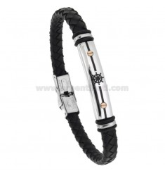 BLACK WOVEN LEATHER BRACELET WITH CENTRAL PLATE WITH RUDDER CM 21