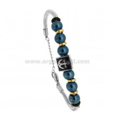 BRACELET CODE OF MOUSE WITH BALLS AND STILL IN STEEL TRICOLORE AND ENAMEL CM 21