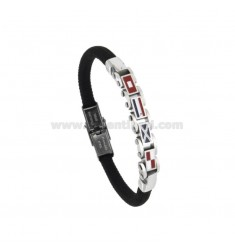 BLACK ROPE BRACELET WITH 4 NAUTICAL STEEL FLAGS AND ENAMEL 21 CM