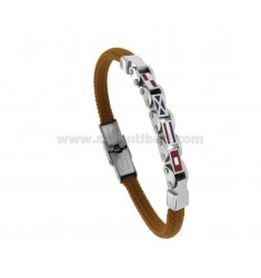 BRACELET ROUND BROWN WITH 4 FLAGS NAUTICAL STEEL AND ENAMEL CM 21