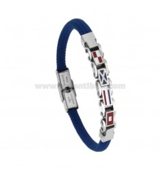 BLUE ROPE BRACELET WITH 4 NAUTICAL FLAGS IN STEEL AND ENAMEL 21 CM