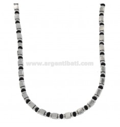 SPECIAL STEEL NECKLACE AND SWEATER WITH CYLINDERS AND WASHERS MM 4 CM 50-55