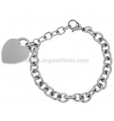 Stahlkabel Armband mit Herz mit Anhänger 20 CM