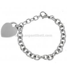 STEEL CABLE BRACELET WITH HEART WITH PENDANT 20 CM