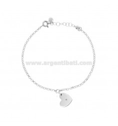 ROLO BRACELET 'CM 15-17 WITH HEART PENDANT SILVER RHODIUM TIT 925 AND NATURAL DIAMOND CT0.005