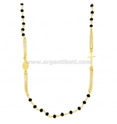 ROSARY NECKLACE A GIRO WITH BLACK STONES IN SILVER GOLDEN TIT 925 CM 50