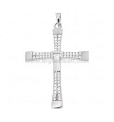 Anhänger Kreuz Anhänger VIN DIESEL MM 36X25 mit PAVE 'aus Zirkonia weiß Silber Rhodium TIT 925
