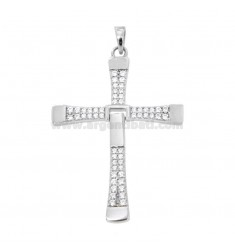 PENDANT CROSS PENDANT VIN DIESEL MM 36X25 WITH PAVE 'OF ZIRCONIA WHITE SILVER RHODIUM TIT 925