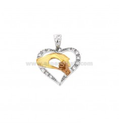 PENDANT HEART LOVE MATERNAL MM 15X18 SILVER TITLE TRICOLOR 925 ‰ AND WHITE ZIRCONIA