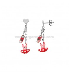 EARRINGS PENDANT WITH HEART TUTU 'AND BALLERINA SCARP IN SILVER RHODIUM AND ENAMEL TIT 925