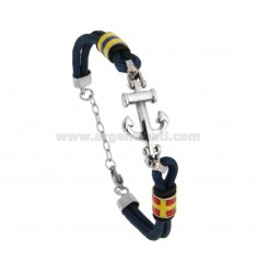 BRACELET IN BLUE AND CENTRAL ROPE IN STAINLESS STEEL AND NAUTICAL FLAGS ENAMELLED CM 21