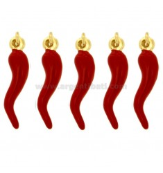 HORN PENDANT CM 2.6 PCS 5 IN GOLDEN SILVER AND RED GLAZED TIT 925 ‰