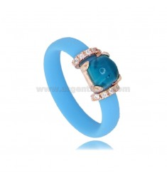 RING IN LIGHT BLUE RUBBER WITH APPLICATION IN AG ROSE GOLD PLATED TIT 925 ‰, ZIRCONIA AND HYDROTHERMAL STONES ASSORTED COLORS