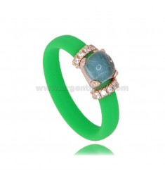 RING IN GREEN FLUO RUBBER WITH APPLICATION IN AG ROSE GOLD PLATED TIT 925 ‰, ZIRCONIA AND HYDROTHERMAL STONES ASSORTED COLORS