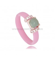 RING IN PINK RUBBER WITH APPLICATION IN AG ROSE GOLD PLATED TIT 925 ‰, ZIRCONIA AND HYDROTHERMAL STONES ASSORTED COLORS