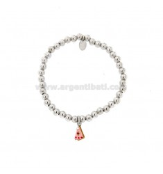 ELASTIC BRACELET WITH 4 MM BALLS AND PENDANT CAKE IN SILVER RHODIUM TIT 925 STRASS AND ENAMEL
