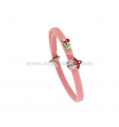BRACELET IN RUBBER 'WITH CUPCAKE AND CHERRIES IN SILVER RHODIUM TIT 925 RHINESTONE AND ENAMEL
