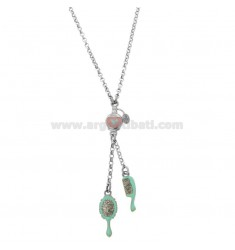 BEVERLY ROLO 'NECKLACE WITH PERFUME BRUSH AND BRUSH IN SILVER RHODIUM TIT 925 GLITTER AND ENAMEL CM 38-40