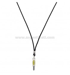 SILK NECKLACE CERATA WITH SCREWDRIVER PENDANT IN SILVER RHODIUM TIT 925 AND ENAMEL CM 38-40