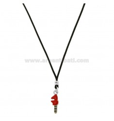 SILK NECKLACE CERATA WITH KEY IN PARROT PENDANT IN SILVER RHODIUM TIT 925 AND ENAMEL CM 38-40