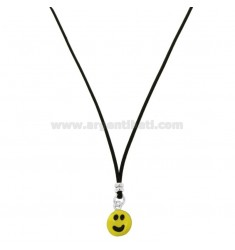 SILK NECKLACE CERATA WITH SMILE PENDANT SILVER RHODIUM TIT 925 AND ENAMEL CM 38-40