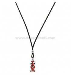 SILK NECKLACE CERATA WITH ROAD MACHINE PENDANT SILVER RHODIUM TIT 925 AND ENAMEL CM 38-40