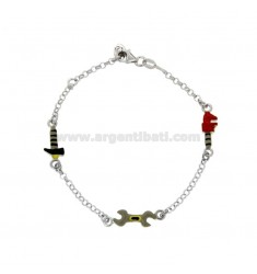 BRACELET CABLE WITH KEY TO PARROT ENGLISH KEY AND HAMMER IN SILVER RHODIUM TIT 925 AND ENAMEL CM 15-17