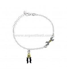 BRACELET CABLE WITH ENGLISH WRENCH AND PLIERS IN SILVER RHODIUM TIT 925 AND ENAMEL CM 15-17